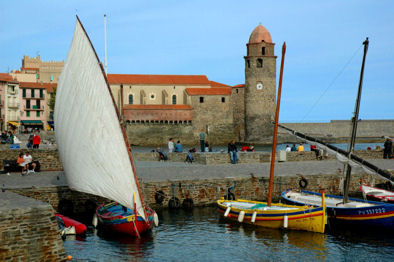 Le clocher depuis le port de Collioure